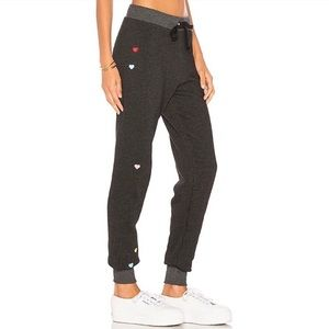 WILDFOX Heart Embroidered Sweatpants